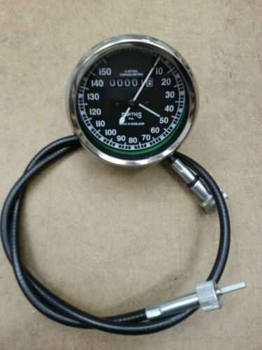 SMITHS SPEEDOMETER 150M WITH CABLE ROYAL ENFIELD BSA NORTON REPLICA BLACK NEW