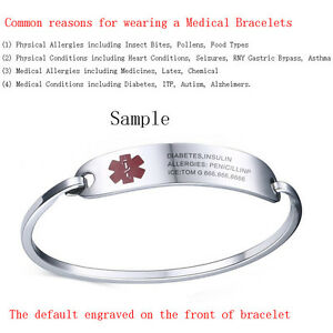 UK Silver Adult Women Stainless Steel Medical Alert ID Bracelet Bangle Engraving