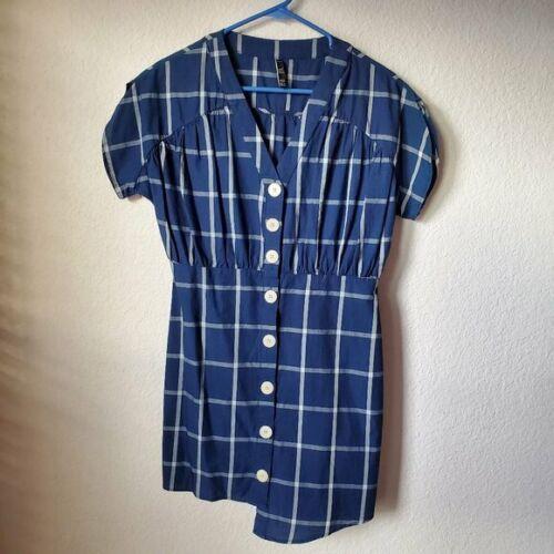 medium small Vintage Center Aisle jumper plaid 1980/'s poly knit short kitsch retro big pockets mod