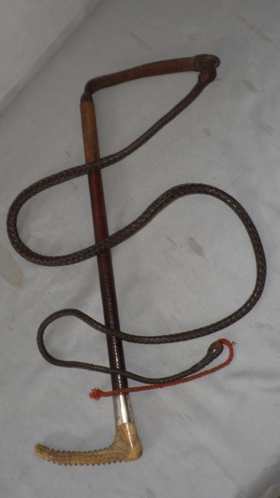 Antico marcata 1930 argentoOintrecciato in pelle Hunt FRUSTA & Lash pronto soccorso R'