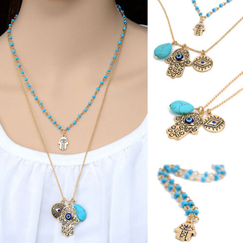 Lucky Protection Hamsa Fatima Hand Evil Eye Pendant Beads Chain Necklace JD