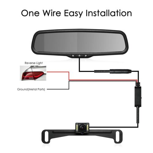 "Auto-Vox T2 Car Reversing Kit 4.3"" LCD Rear View Mirror Monitor Backup Camera"