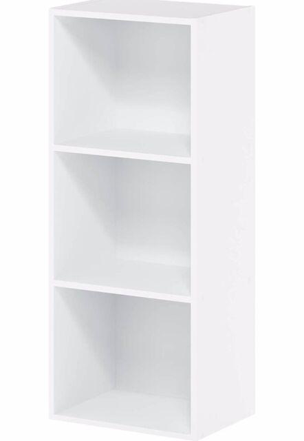 Furinno 3-Tier Open Shelf Bookcase, White