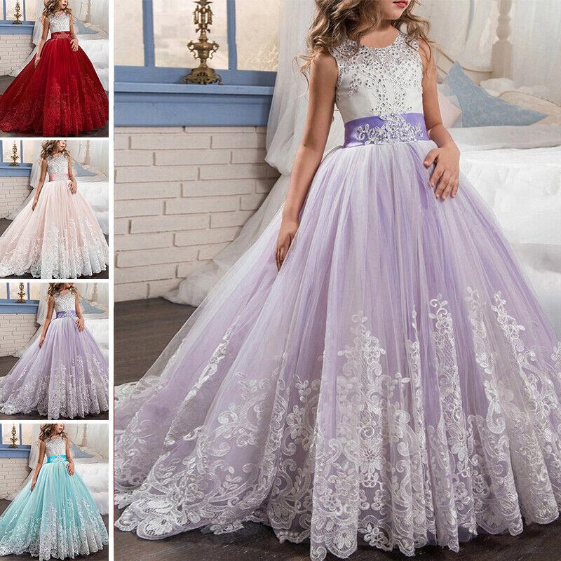 Blumen Mädchen Maxi Kleid für Kinder Hochzeit Brautjungfer Spitze Ballkleid DE