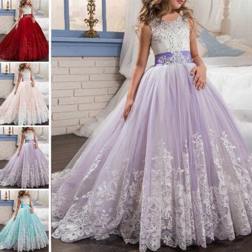 Kinder Blumenmädchen Tüll Partykleid Prinzessin Tutu Spitze Hochzeit Abendkleid