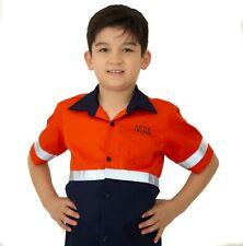 Kids Hi-Vis Shirt Short Sleeve w/ Tape Yellow Orange Pink TEXT Embroidery opt