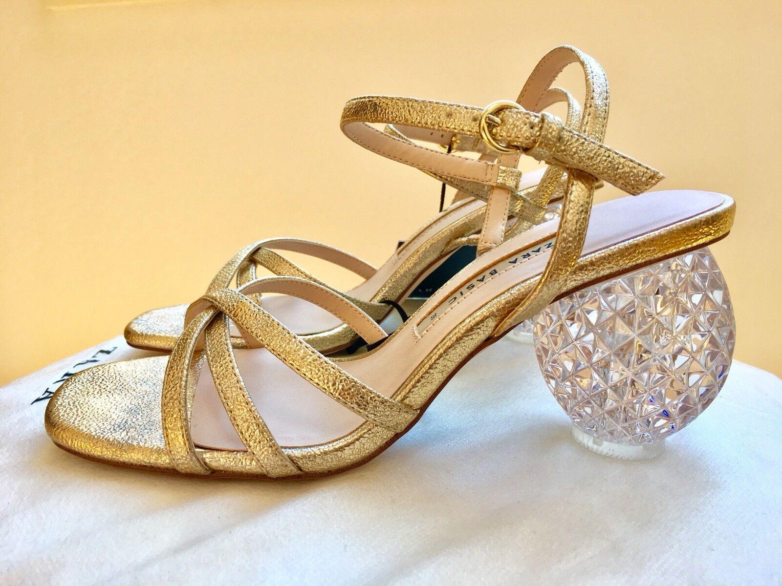 Zara Block Block Block Heel Sandals gold Crystal Size 6-NWT SS18 Ref 2310 301-Last One 82327e
