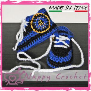Scarpine Sportive Da Calcio Inter Neonato Uncinetto Baby Booties