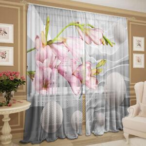 2er Set 145х245cm Gardinen transparent 3D Fotodruck Vorhang Pfingstrosen Chiffon