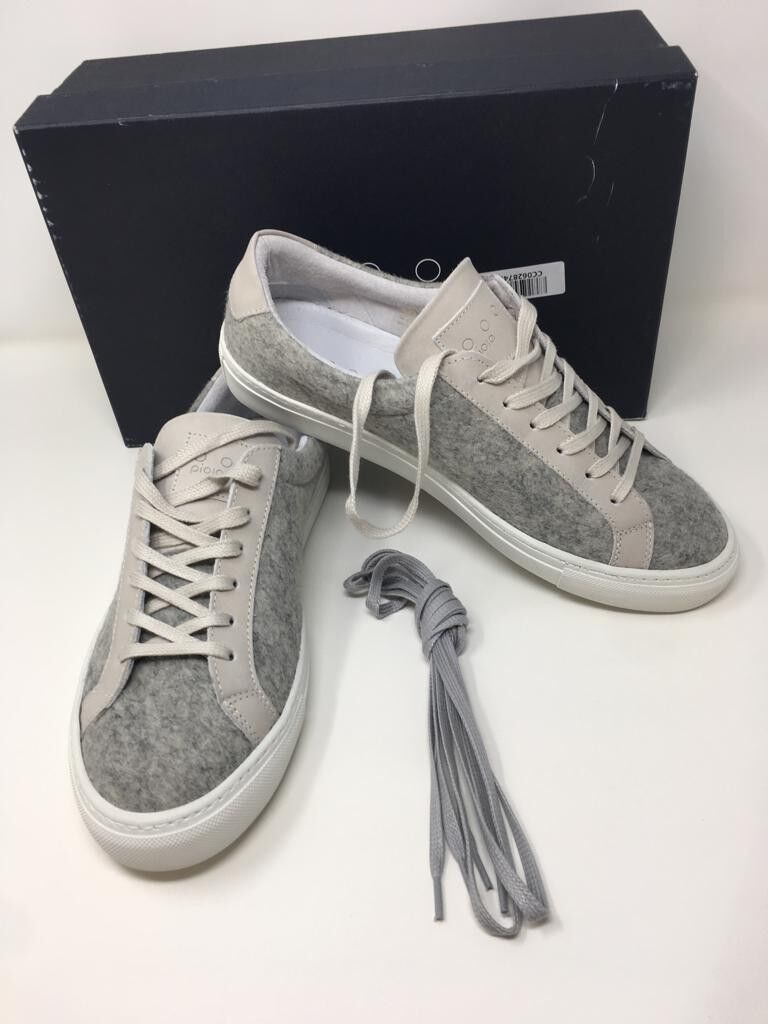 PIOLA  Light Grey Felted Wool Trainers  Size UK 8 EU 41