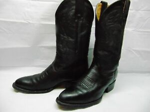 Herencia-Men-039-s-9-5-Black-Leather-Motorcycle-Western-Cowboy-Ride-Work-Rodeo-Boots