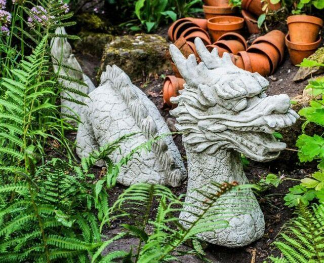Large 3 Piece Dragon Stone Case Garden, Stone Dragon Garden Ornaments Uk