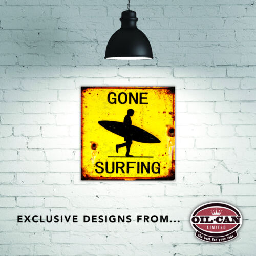 260 x 260mm Metal Sign distressed effect gone surfing sign