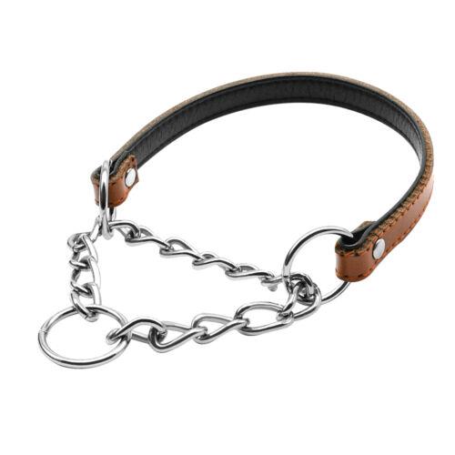 Medium Large Choke Choker Chain Leather Training Dog Collars Adjustable Pink Red