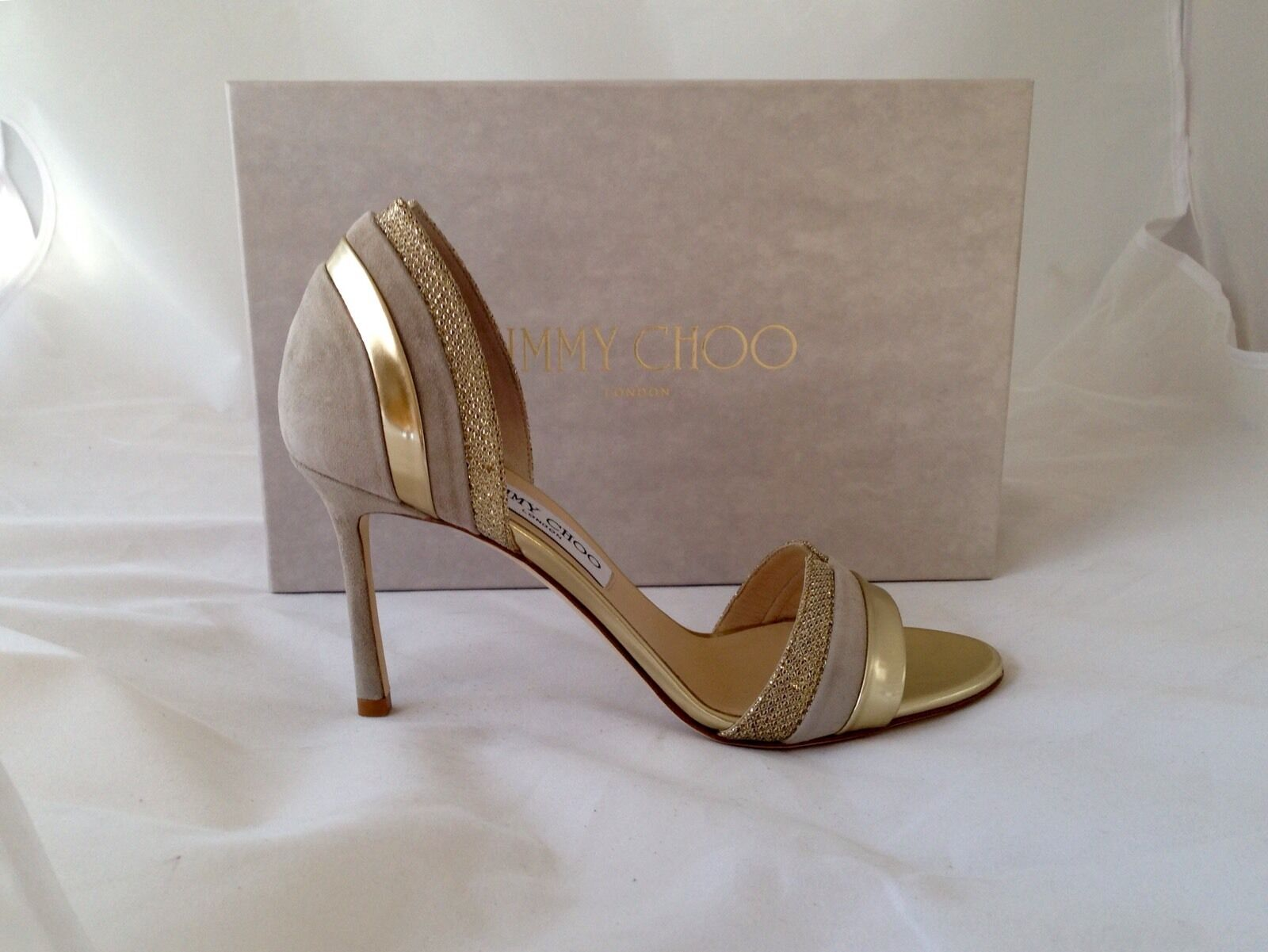 NIB Sz 10.5  825 Jimmy Choo 'Mesreen' -Suede Nude Mix -Open Toe Sandals eu 10.5