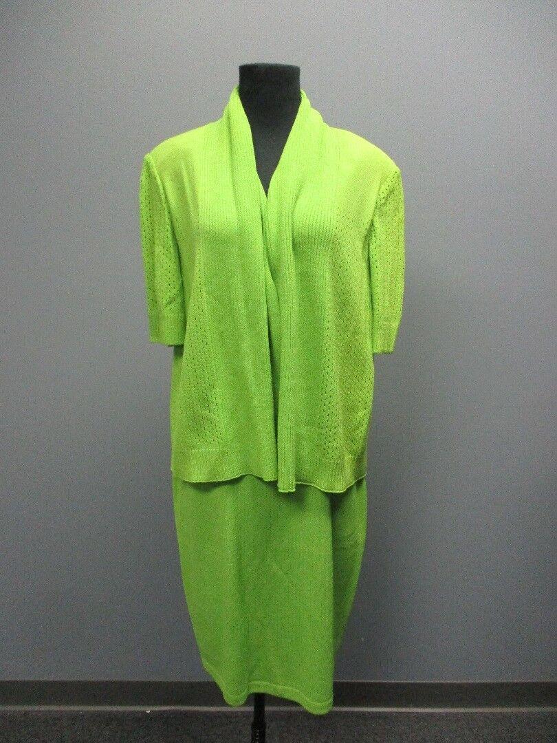 ST. JOHN Green 3   4 Sleeve Blazer Sz L A Line Skirt Suit Sz 10 NWT DD6070