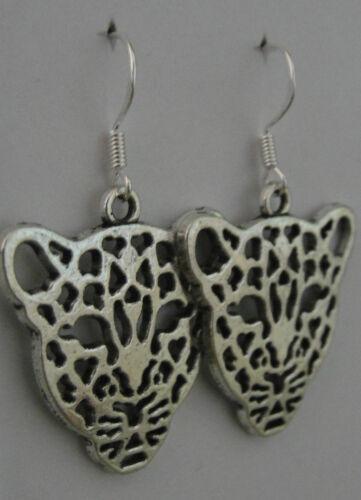 Beth loves leopards earrings guitar rockabilly rock leopard print cat