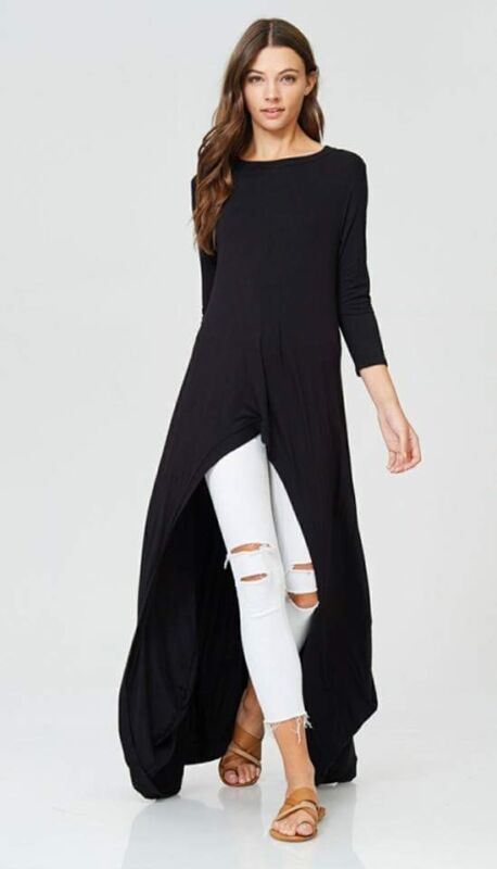 High Low Maxi Tshirt Top Black Size S/m Be Novel In Design