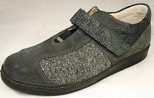 Das Bild wird geladen Naturlaeufer-Damen-Schuhe-Slipper-Leder-grau-Klett-39- 1a499b2caa