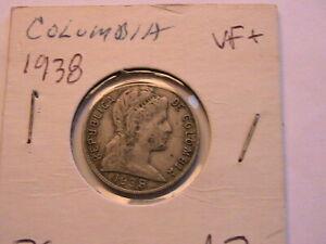 1938 Colombia 5 Cents VF original grey Five Centavos 5C South American Coin