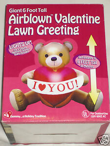 NEW-Gemmy-Valentines-Day-Lighted-6-039-Teddy-Bear-Airblown-Inflatable ...