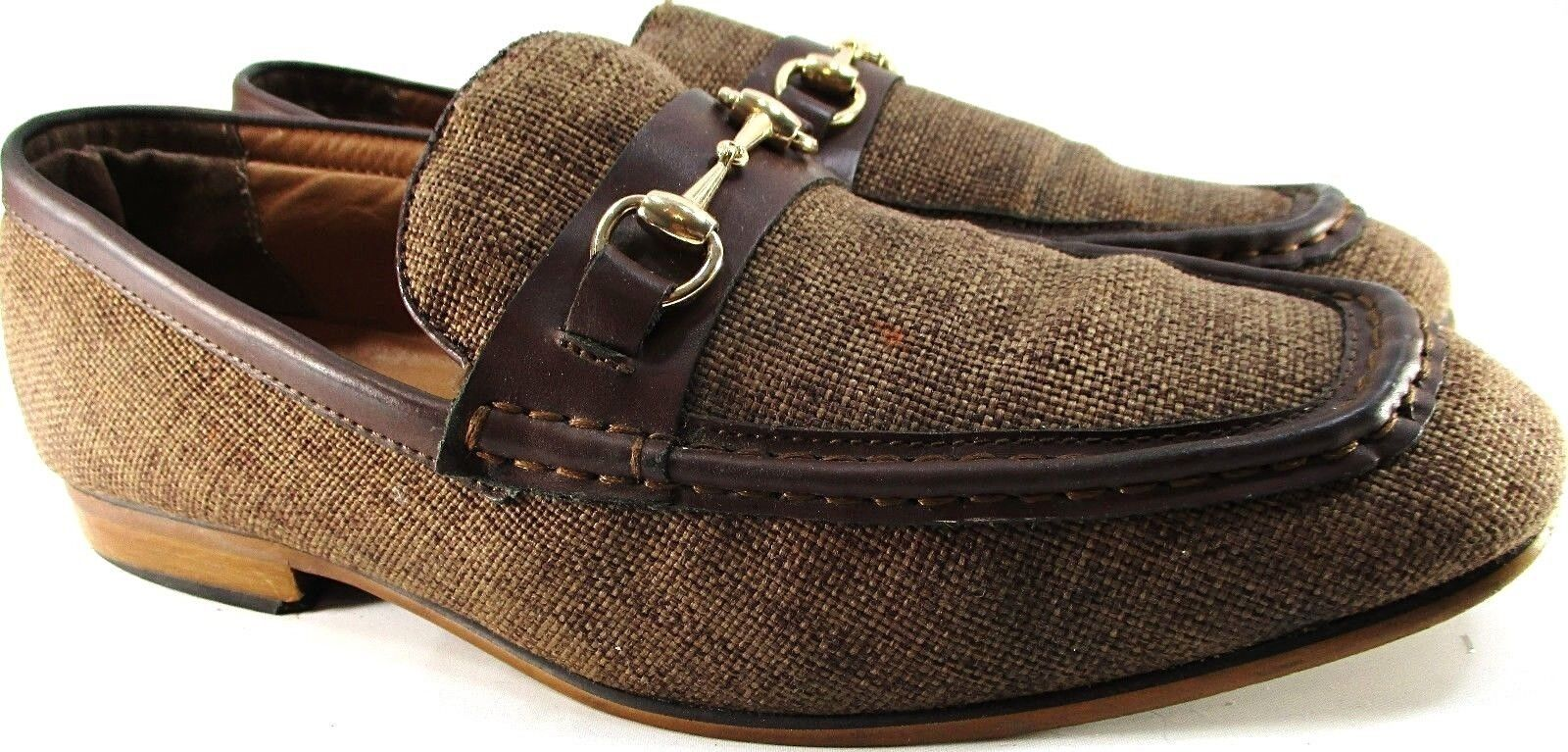 La Milano Men Loafer shoes Size 11 Brown Tweed Leather Trim Style A1870