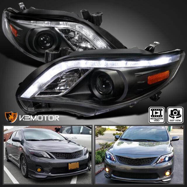 2011 2013 Toyota Corolla Projector Headlights Led Drl Lamps Black