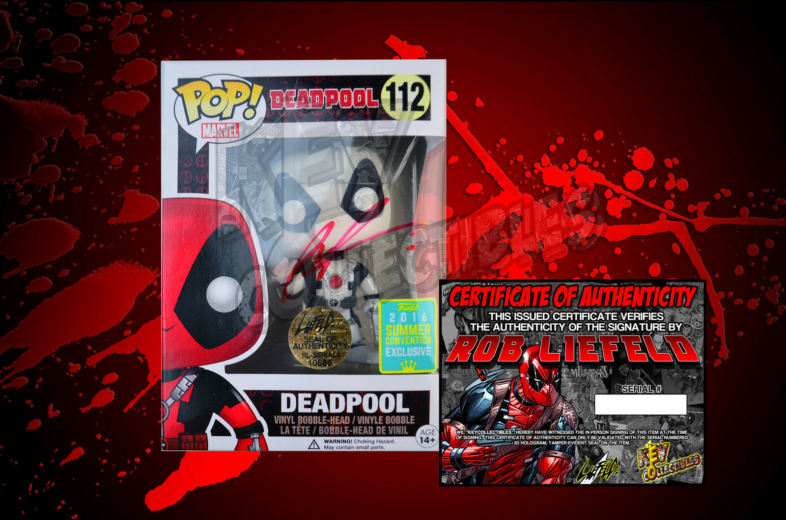 2016 Summer Convention Exclusive Deadpool 112 Funko POP  Figure - SIGNED BY ROB