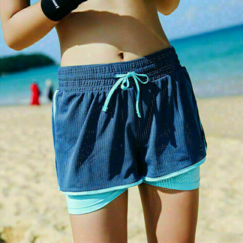 Women Casual Jogging Swimwear Pants Gym Yoga Sport Mesh Layer Running Shorts
