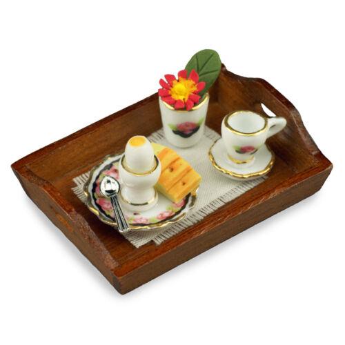 Reutter porzellan petit-déjeuner plateau noire rose//Breakfast poupée 1:12