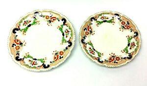 Dos-Vintage-Usado-John-Maddock-amp-Sons-Inglaterra-Real-Vitrea-Bombay-Floral