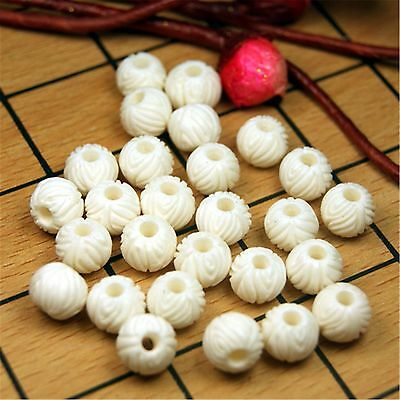 Cool 10mm X 8mm Carved Bone Round Beads 50 PCS (863011)