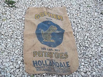 VINTAGE Gopher Potatoes Burlap Bags