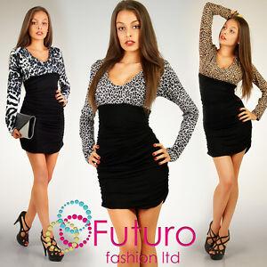 Elegant-Cocktail-Dress-Long-Sleeve-Zebra-Panther-V-Neck-Size-8-18-FT1009