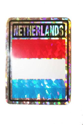 NETHERLANDS COUNTRY FLAG  METALLIC BUMPER STICKER DECAL . 4 X 3 INCH