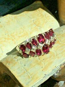 Vintage-STS-925-Garnet-Like-Gemstone-Cluster-Cocktail-Size-10-Ring