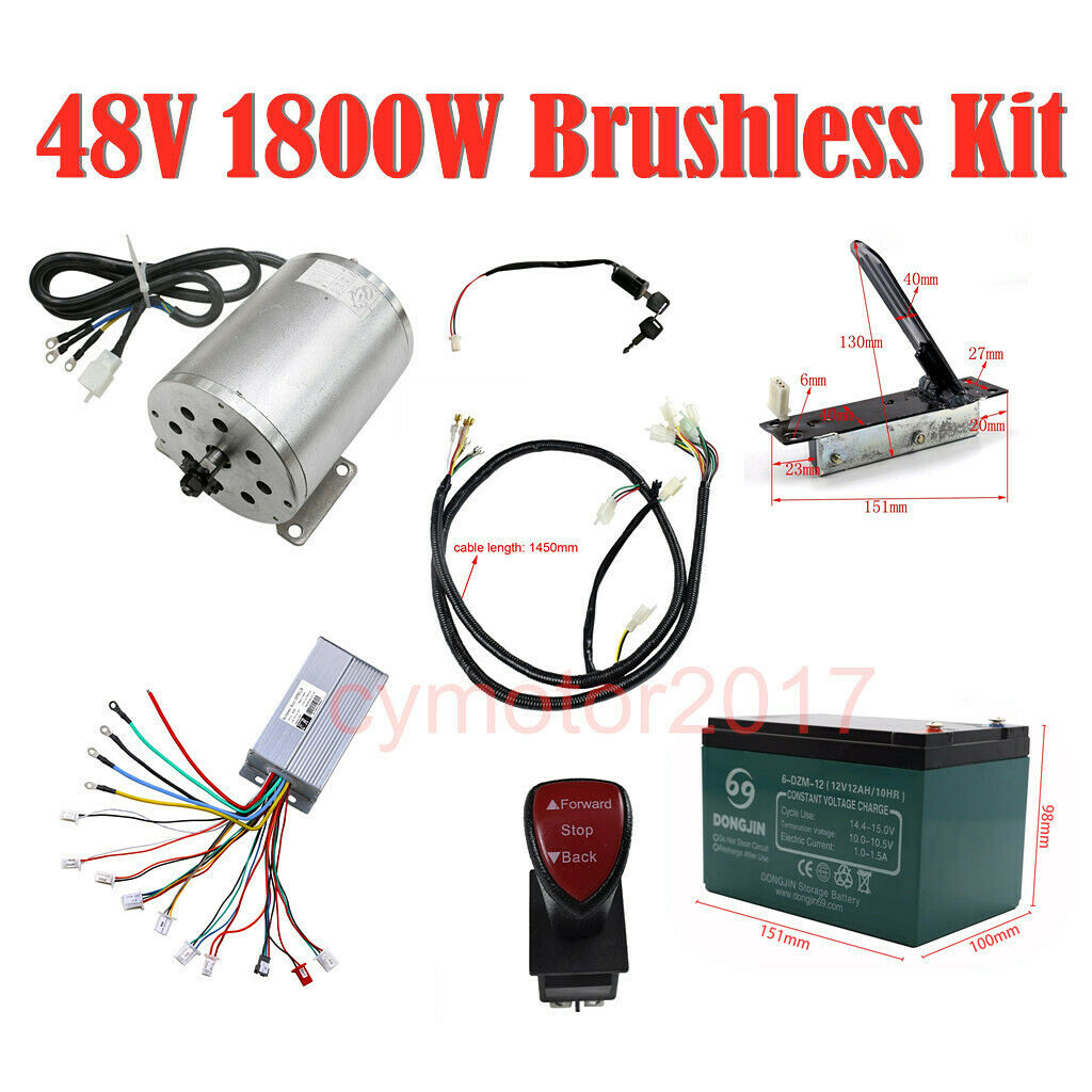1800W 48V Brushless Motor Controller Throssotle Battery Charger Reverse Switch
