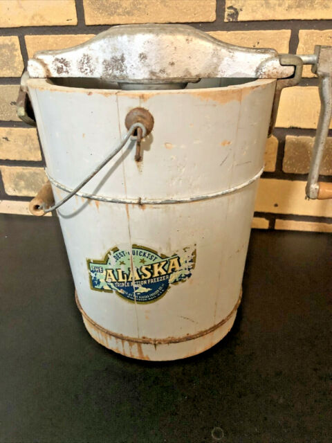 Antique1920? Triple ActionHand Crank Ice Cream Maker Freezer ALASKA Advertising