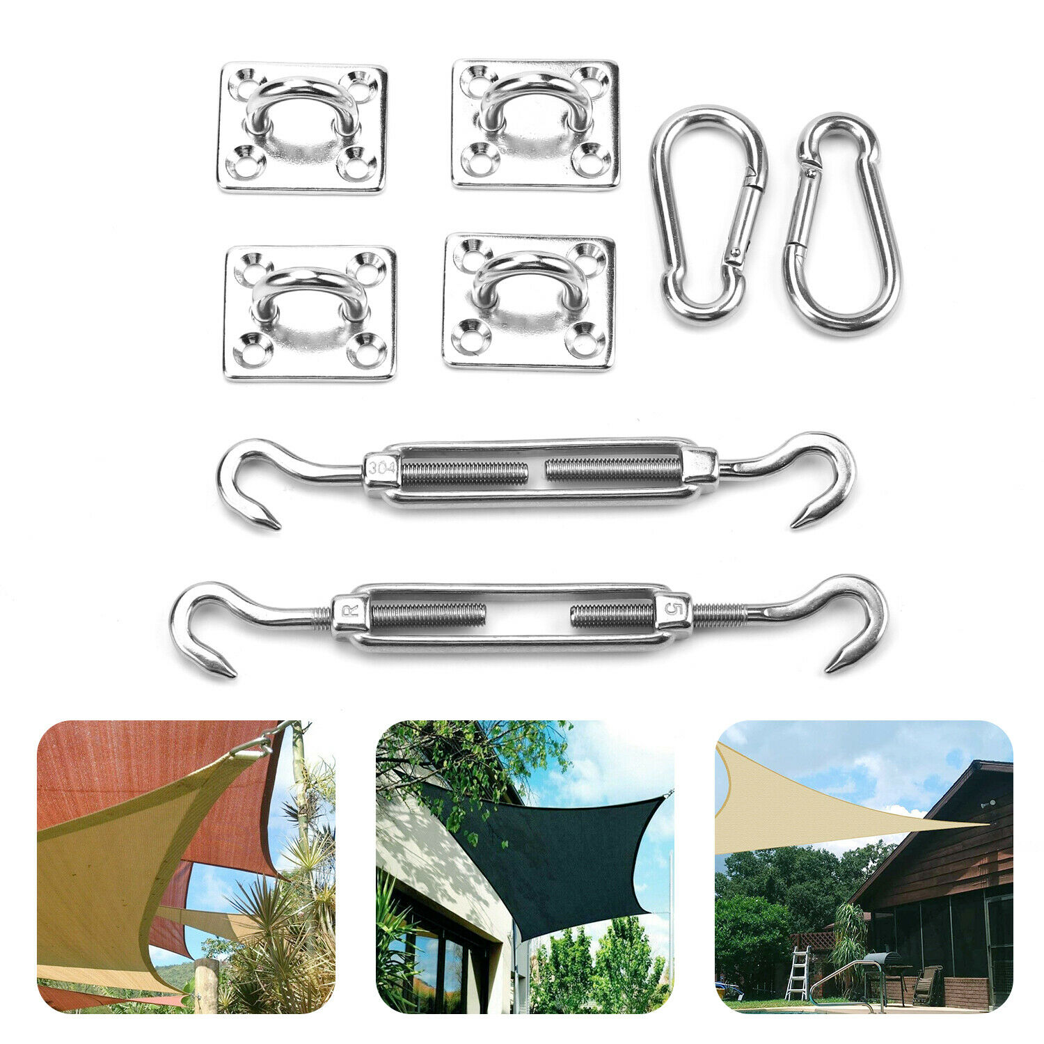 Shade Sail Hardware Kit for Rectangle and Square 6 Inches 304 Marine Grade Stainless Steel Sun Shade Sail Installation for Patio Lawn Garden 24 Pcs