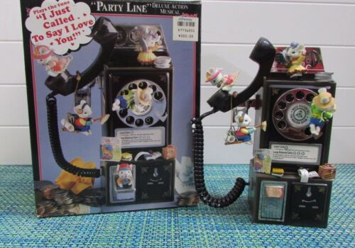 "ADORABLE Enesco Musical Society Party Line Mice Playing on Telephone 10"" X 8"""