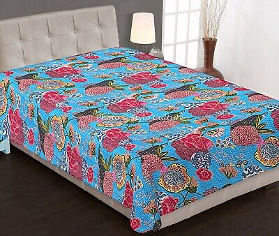 Handmade Cotton Kantha Quilt Turquoise Color Indian Bohemian Floral And Bird Print Bedspread Bedding Coverlet Blanket Throw