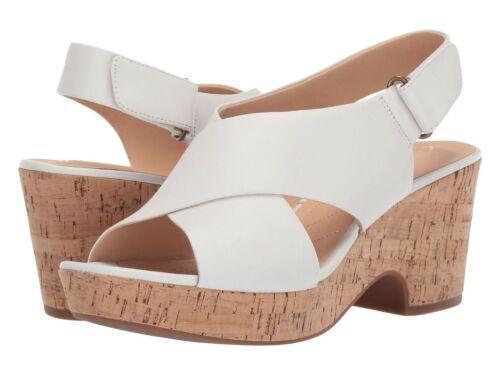Women/'s Shoes Clarks MARITSA LARA Leather Platform Sandal Heels 41375 WHITE