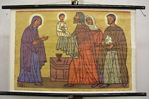Schulwandkarte-Bibelgeschichte-Patmos-4-1967-Die-Representation-in-Temple-77x50