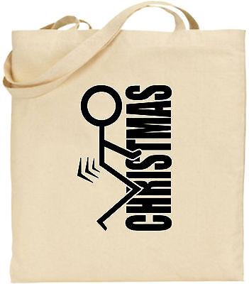 F ck Weihnachten groß Baumwolle Einkaufstasche Bag Geheim Strichmännchen Lustig