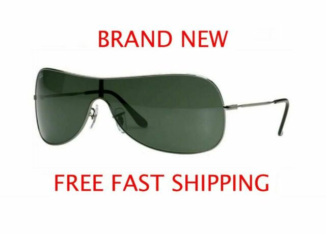 New Authentic Ray-Ban Men's Sunglasses Gunmetal w/Green Lens RB3211 004/71 LARGE