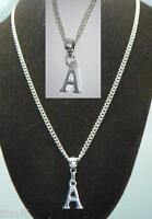 "18"" or 24 Inch Chain Necklace & Alphabet Letter A Pendant Name Initial Charm"