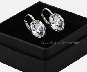 925-Sterling-Silver-Earrings-Crystal-Clear-12mm-Rivoli-Crystals-from-Swarovski