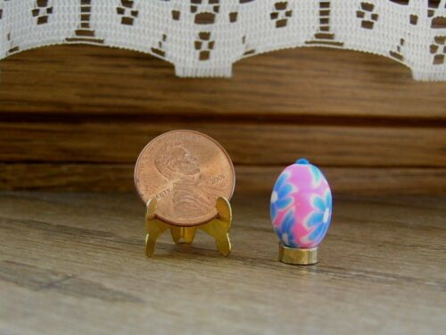 Miniature Dollhouse Smooth Pink /& Blue Easter Egg on Stand
