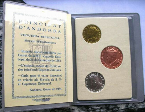 Andorra 1984 Joan D.M.Bisbe Mint Set of 3 Coins,With Silver Coin