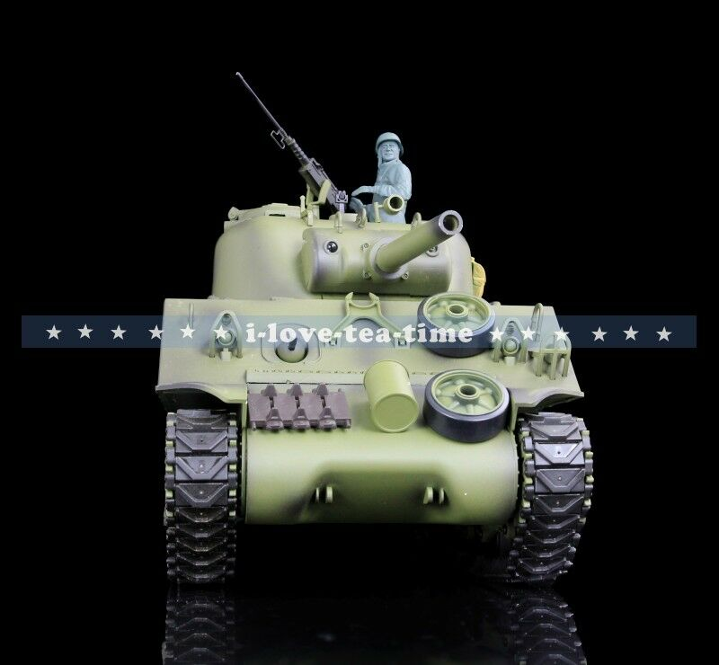 2.4Ghz Henglong 1/16 scala in plastica versione USA M4A3 Sherman RC TANK MODEL 3898-1